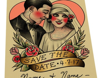 Save The Date Wedding Couple Tattoo Flash Design Cards (or Digital File)