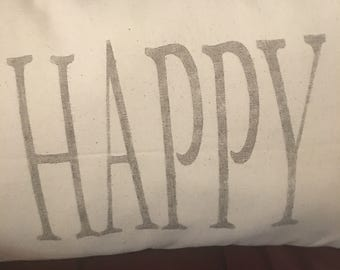 Happy pillow-BE HAPPY-Great reminder.  Poly fiber filled, great for anyone and any room!