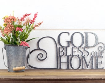 God Bless Our Home Metal Sign | Heart | Religious Decor | God Bless | Spritual Decor | Religious Wall Art | Word Art | Sign