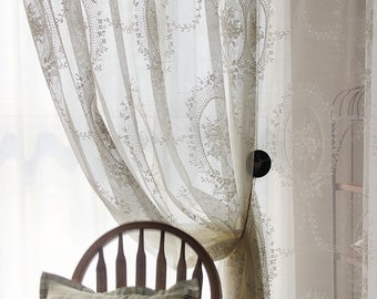 Stunning Shabby Chic Fairy Tale Creamy White Sheer Curtains, Lace Curtains, Rod Pocket/Pinch Pleated Drapery, Drapes