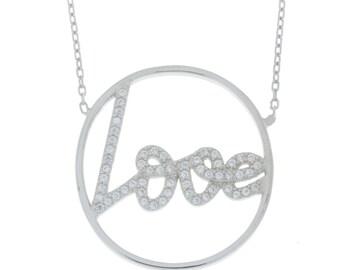Love Engraved CZ Design Pendant .925 Sterling Silver