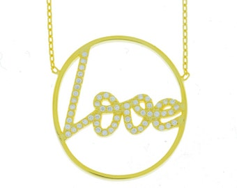 14Kt Yellow Gold Plated Love Engraved CZ Design Pendant