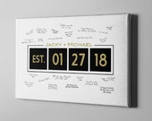 SALE 50% Off Canvas Guest Book, Established Date Sign Guest Book, Gold Elegant GuestBook Alternative, Unique Gifts, FREE SHIPPING! (CGB61)