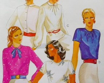 Vintage Blouse Top With Back Buttons, Sleeve and Collar Variations, McCall's 6782 Sewing Pattern Miss Size 14 Bust 36 UNCUT