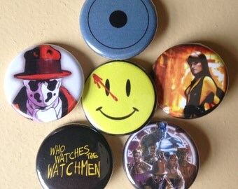 "Watchmen pin back buttons 1.25"" set of 6"