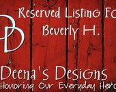 Reserved Listing For Beverly H