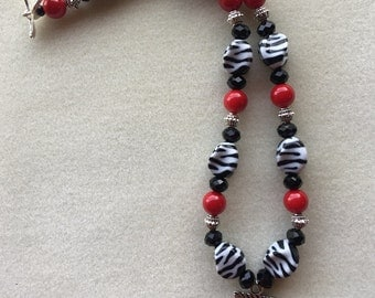 Zebra Print Cross Necklace