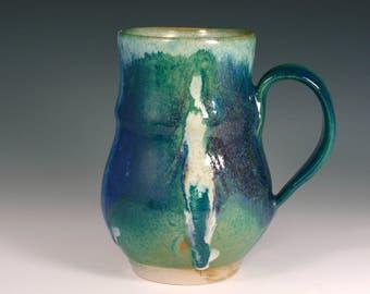Large  Aquamarine Mug, Coffee Mug  18 oz, handmade ceramic Mug, Pottery coffee cup with figure.