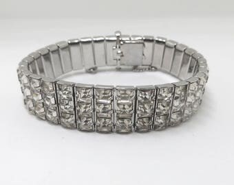 Art Deco Crystal Bracelet, Channel Set, Rhodium Setting, 1950s Bracelet, Wedding Bridal Jewelry