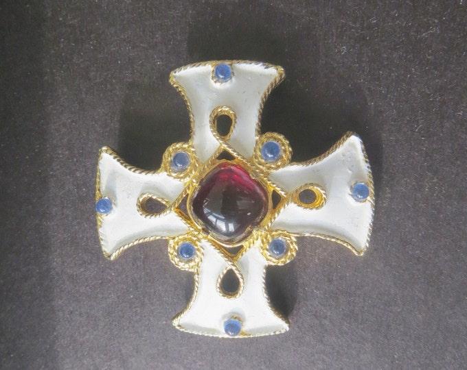 Vintage Castlecliff Maltese Cross Brooch, Malta Cross ,Enamel & Gripoix Glass, Designer Signed, Heraldic Jewelry