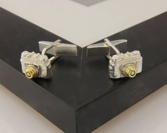 Camera Cufflinks in Sterling Silver and Gold.