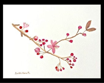 SALE Cherry blossom art Original watercolour painting Pink flowers art Japanese flowers Wall art Home deccor Pink blossom  10 x 7 inch