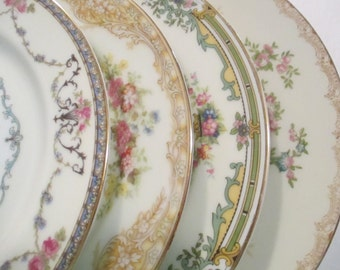 Vintage Mismatched China Salad Plates for Christmas, Wedding Plates, Tea Party,Bridal Luncheon, Hostess Gift,Bridesmaid Gift - Set of 4