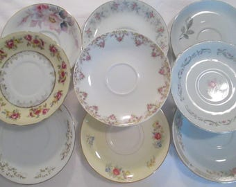 Vintage Mismatched China Saucers w/ Imperfections - Set of 9