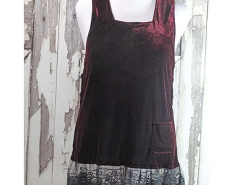 Gorgeous Dark Burgundy Velvet Jumper, Upcycled Clothing, Goth Style,