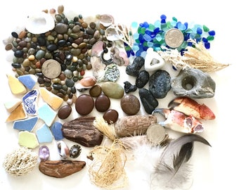 Terrarium Kit, Beachcombers Beach in A Box, Earthy, Miniatures, Fairy Garden, Kit,  Abalone Shells, Feathers, Resin Jewelry Supplies, Tiny