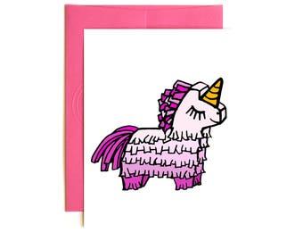 Unicorn Piñata Happy Birthday Card - Party - Fiesta - Feliz Cumpleanos - Confetti Card - Hand drawn card - Unicorn Party - Girl Birthday