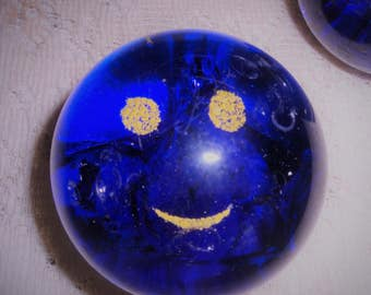 Blue Glass Paperweight, Blue and yellow Happy face paperweight, 2 inch paperweight, Home or office paperweight