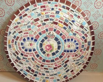 Large Broken China Mosaic Wall Hanging/Round Backsplash - 100% Recycled - FREE SHIPPING
