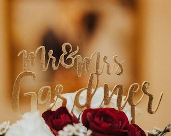 Mr & Mrs Last Name Wedding Cake Topper,  Personalized Wedding Cake Topper, Wedding Cake Decor