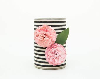 Magnetic Pen // Pencil Holder- Black and White Stripes with Two Blush Pink Flowers