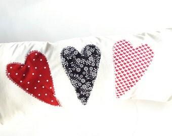 Valentine Banner Pillow Novelty XOXO Pillow Appliqued Pillow Valentine's Day pillow Heart Bench Pillow Handmade Sweetheart Pillow