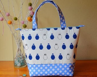 Insulated Lunch Bag/ Little Penguin Lunch Bag with Bottle Holder/ Lunch Bag insulated/Lunch Bag for women/Tote bag