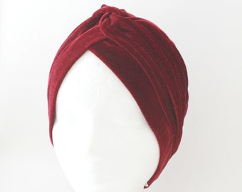 Glamorous Red Velvet Turban, No slip Turban, Chemo headscarf, Ready to wear HIjab, Turban headwrap