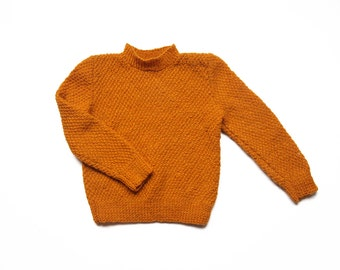 Vintage 70s handmade mustard knitted jumper size 3 / 4 years