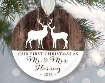 Our First Christmas as Mr & Mrs, Faux wood, Personalized Buck and Doe Deer Christmas Ornament Newlywed Ornament Wedding Ornament OR499