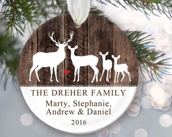 Personalized Deer Christmas Ornament Buck Doe Fawn Family of four Ornament on wood Christmas Gift Custom Ornament Family Name Ornament OR777