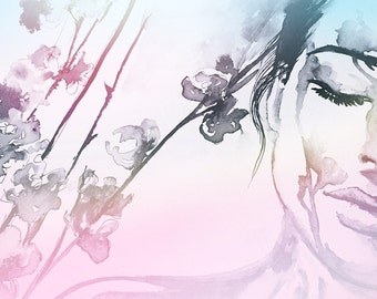 Art Fashion - Art Print from Watercolor Painting - Watercolor Fashion Portrait - Modern Home decor - wall art - Fashionista - Cool Colors