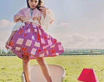 Lovely Vibrant 1940's Retro Polka Dot Skirt/Vintage Skirt/Retro