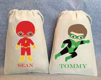 "8 - Superhero party, Superhero Birthday, Superhero favors, Batman Party, Superman, Robin, Superhero Party Favor Bags, Superheroes, 4""x6"""
