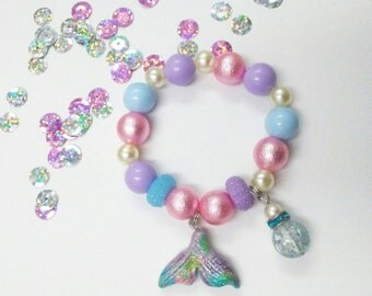 Mermaid tail  charm bracelet (stretchy)
