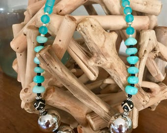 Silver, turquoise & wood statement necklace