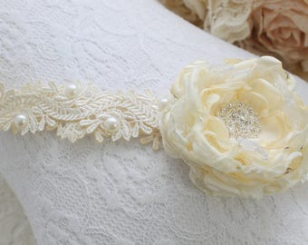 Baby Headband beige/ivory lace headband single satin rose detail.
