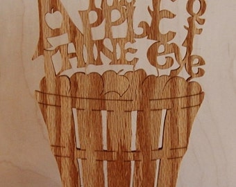Keep Me As The Apple Of Thine Eye Desk Sign Cut On Scroll Saw