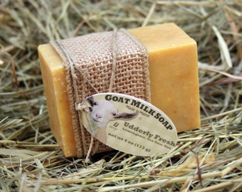 Udderly Fresh Goat Milk Soap. Lemongrass Goat Milk Soap. Lemongrass Soap. Gift under 10.