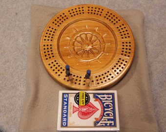 3D Wood Ships wheel Travel Cribbage Board Made of Maple Wood