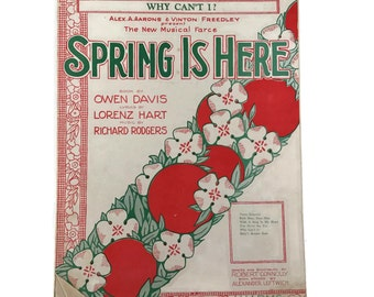 "Vintage Sheet Music ""Spring Is Here"" Valentine Love 1920's  Love Songs 1928 Scrapbooking Sheet Music Decor Music Art Paper Flowers"