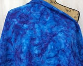 "Batik Fabric--Hand Dyed Fabric--Knit Cotton--Indonesian Batik--Extra Wide 72""--Royal Blue/Purple Tie Dye--Knit Batik Fabric by the HALF YARD"