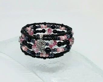 Pink cuff  bracelet, black cuff bracelet, bohemian bracelet, memory wire bracelet, beaded cuff bracelet, wrap bracelet, christmas gift,