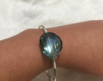 Blue/Purple Tint Crystal On Wire Wrapped Bangle -  Oval Faceted Stone On Silver Non-Tarnish Wire