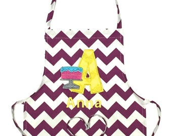 Personalized Apron - Child's Apron - Art Apron - Cooking Apron - Birth cake Embroidery Letter - Embroidery Apron