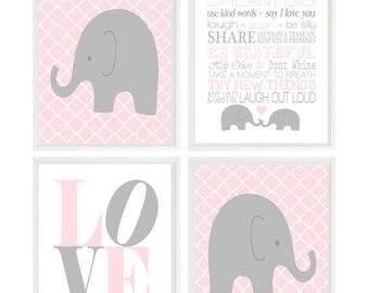 Elephant Nursery, Baby Girl Nursery Prints, Quatrefoil, Gray, Pink, Nursery Decor,  Life Rules, Girl Nursery Art, Elephant Decor, Girl Gift