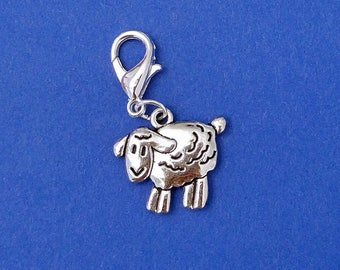 Little sheep crochet stitch marker. Silver plated with 14mm lobster claw clasp. Hand made by Kathryn of Crafternoon Treats
