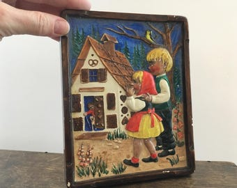 Ceramic wall hanging Hansel and Gretel by the Brothers Grimm Ceramic wall plaque Small ceramic picture Home decor Fairy tale wall hanging