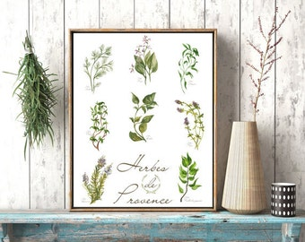 Herbes De Provence Art French Kitchen Wall Decor Dining Room Art Watercolor Herbs Food Watercolor