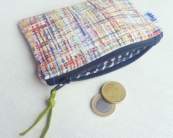 Colored Coin Purse, Lined Zipper Wallet, Abstract Zipped Pouch, Striped Card Holder, Gift for Her & Him